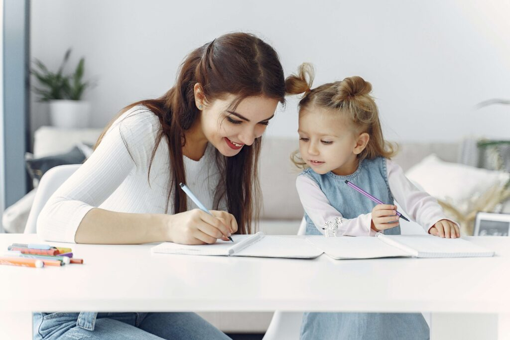 Mother helping child with academics